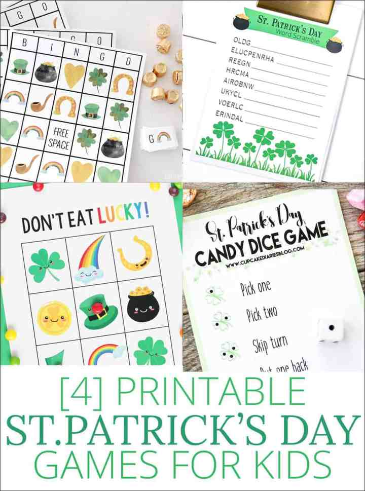 St. Patrick's Day Kids Games - all free printables! These are the perfect way to keep the kids entertained during St. Patrick's Day! #stpatricksday