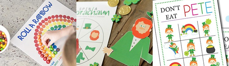 Lots of fun printable St. Patrick's Day Kids Games - St.Patrick's Day Don't Eat Pete, Roll A Rainbow St. Patrick's Day Game, Spin a Leprechaun and other fun games! From overthebigmoon.com!