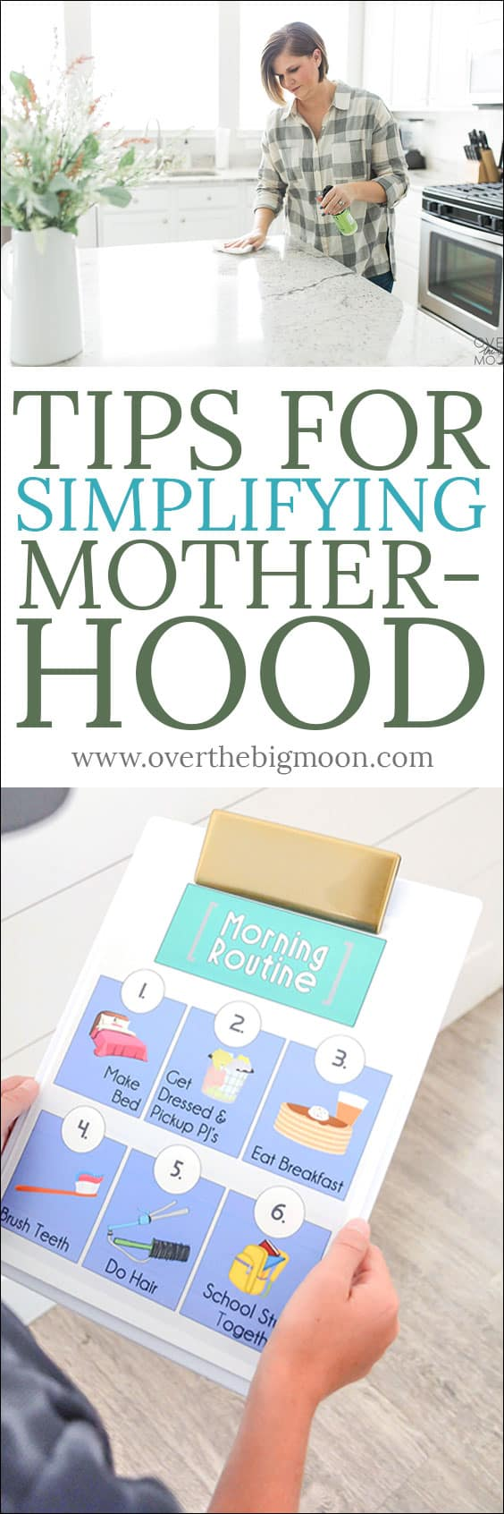 This mommy job is HARD! Check out these tips for helping simplify motherhood and taking care of your home! From overthebigmoon.com!