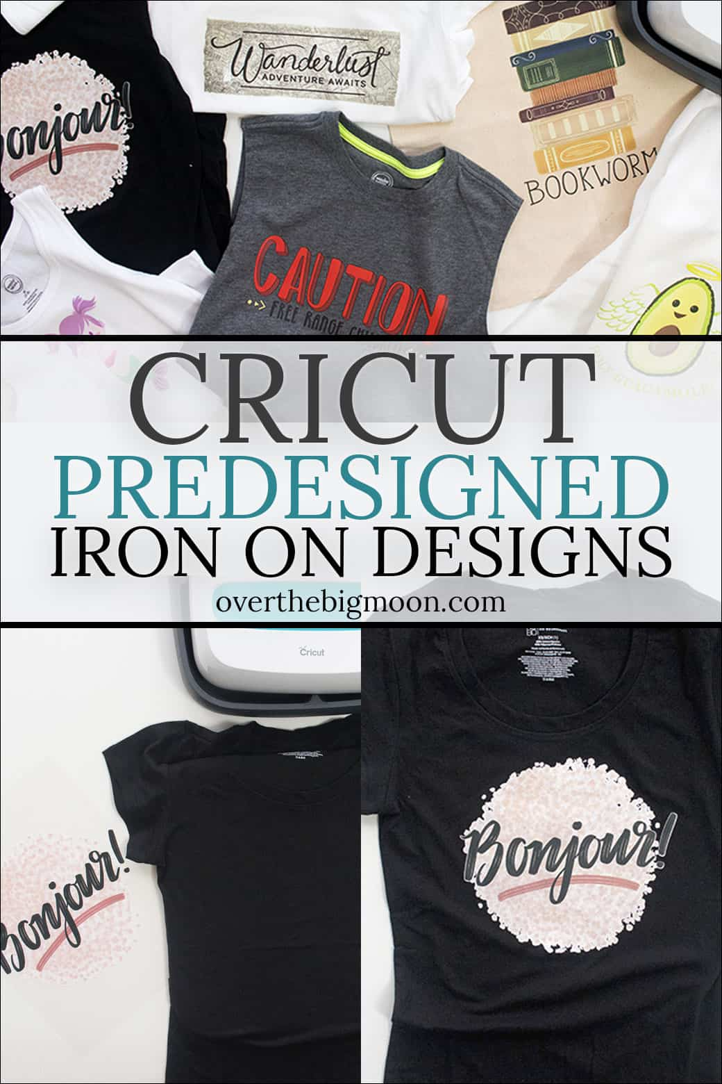 Cricut PreDesigned Iron On Designs are a game changer for crafters of all levels! The designs are affordable and way more detailed than what could be created layering Iron On! There are over 50 designs that could be used for all types of fabric - shirts, onesies, aprons, totes, pillowcases, dish towels, backpacks and more! Come check out everything you need to know! From overthebigmoon.com! #ironon #cricut #cricutmade #cricutcrafting #cricutmaker #easypress #htv