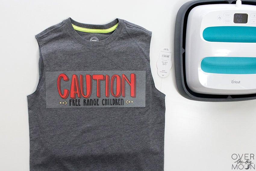 Apply a Heat Transfer Vinyl Design to a shirt! From overthebigmoon.com!