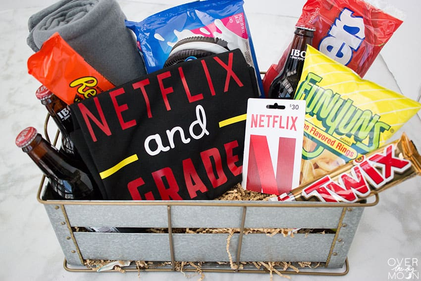 Netflix Binge Gift Basket with Netflix and Grade T-Shirt! From overthebigmoon.com!