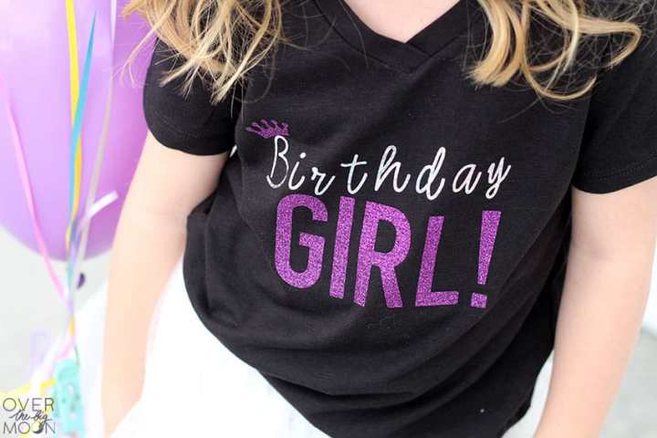 Simple and cute birthday girl shirt made with the Cricut! From overthebigmoon.com!