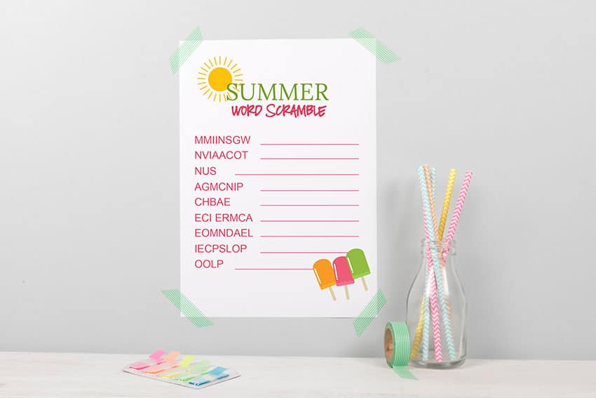 Summer Kids Word Scramble - the perfect activity for kids on a hot summer day! Plus, 3 other fun printable games! From overthebigmoon.com!