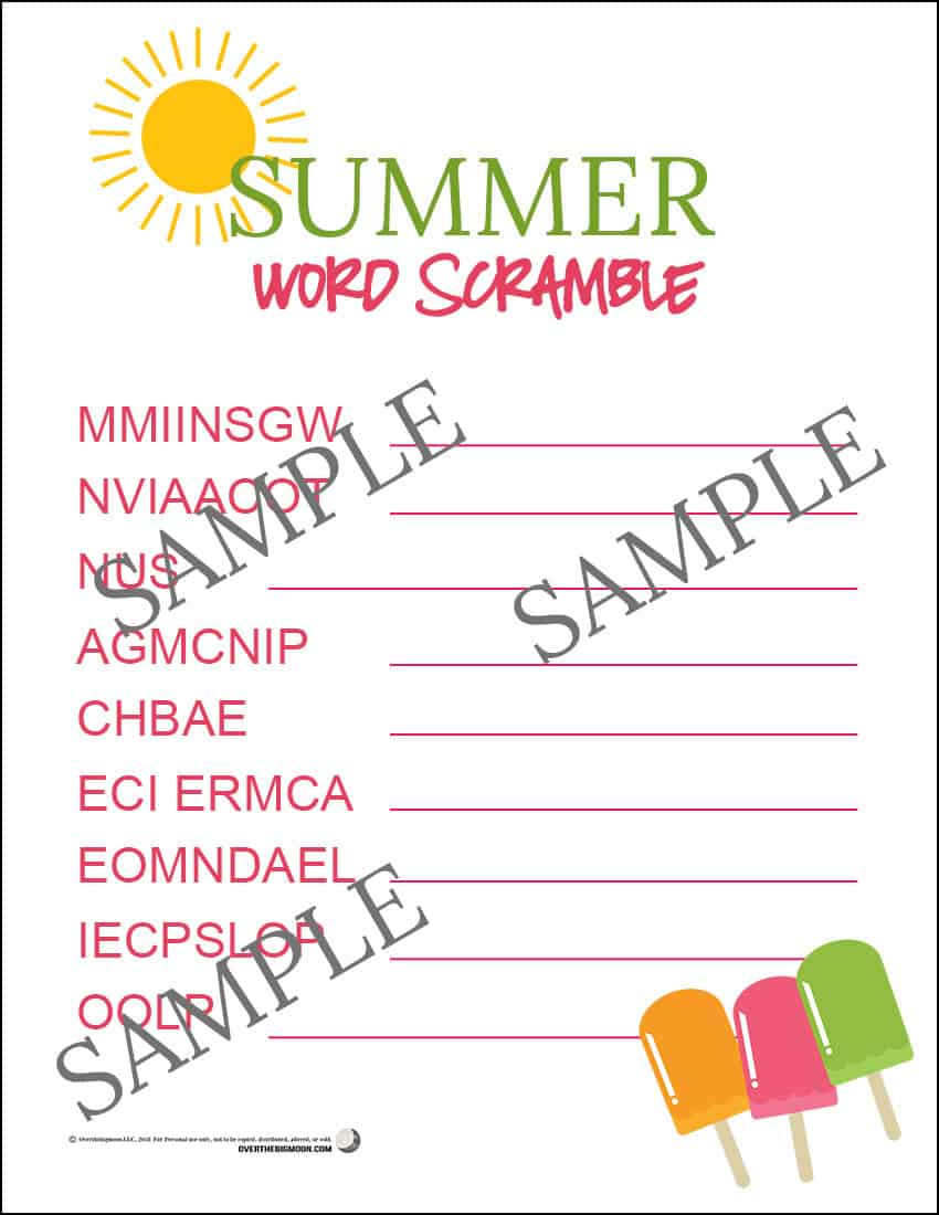 Summer Word Scramble Printable Game for Kids - from overthebigmoon.com!