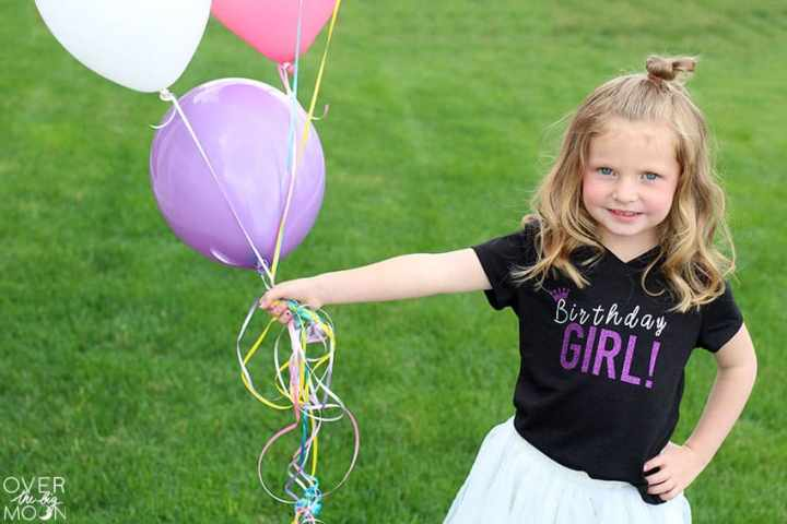 A simple DIY Birthday Girl T-Shirt perfect for your little! Using holographic and glitter iron on makes it extra fun! From overthebigmoon.com!