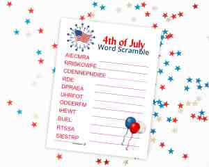 4th of July Word Scramble - perfect for elementary aged kids for this Independence Day! From overthebigmoon.com!