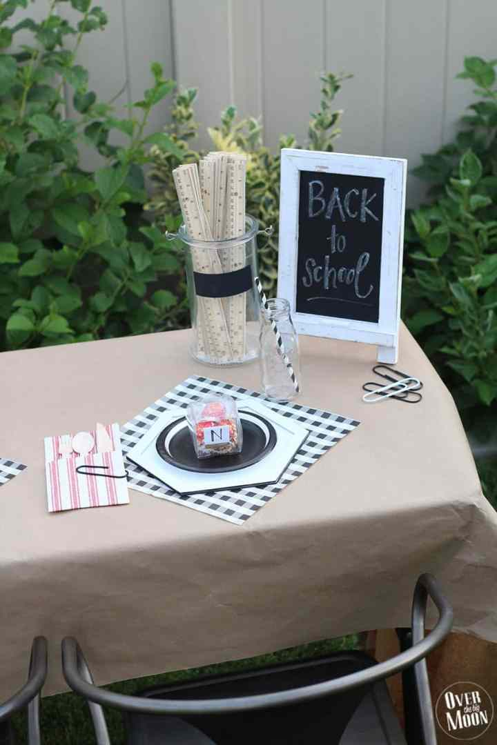 School Themed Breakfast Table - perfect for the first day of school! From overthebigmoon.com!