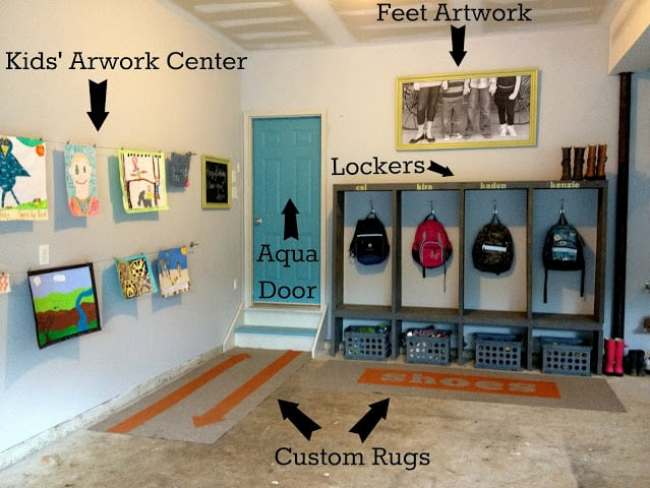 Fun ideas for making a backpack area in the garage of your home. overthebigmoon.com