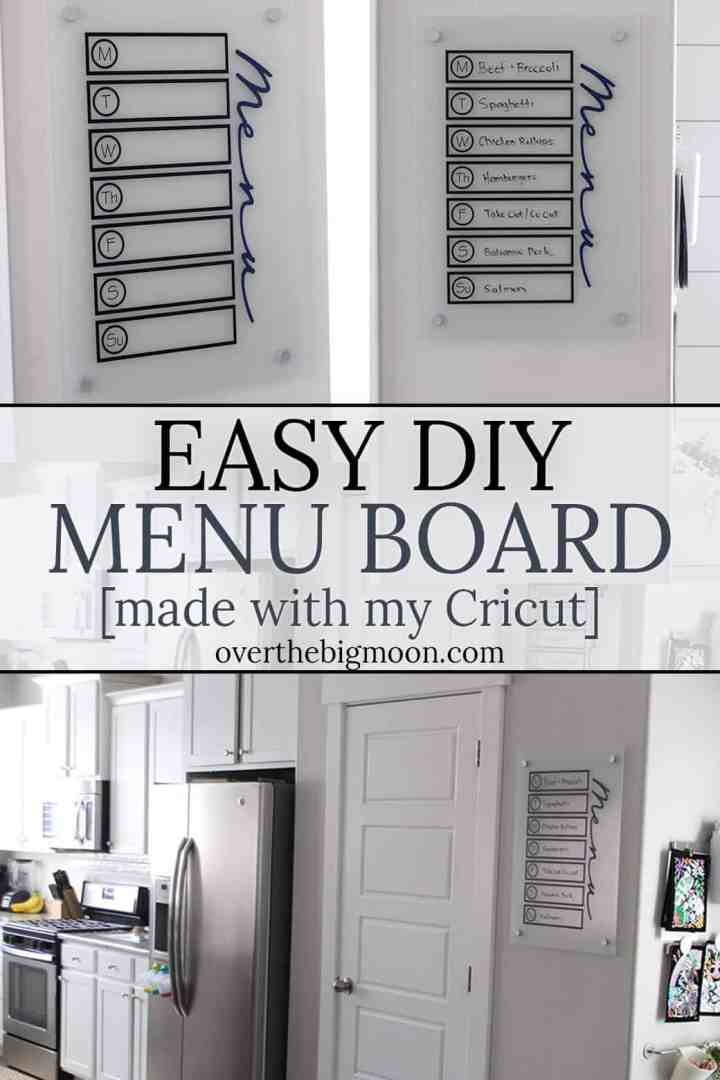 Easy and Simple DIY Menu Board! Need help planning and STICKING TO your menu each week? This Menu Board will help! From overthebigmoon.com!