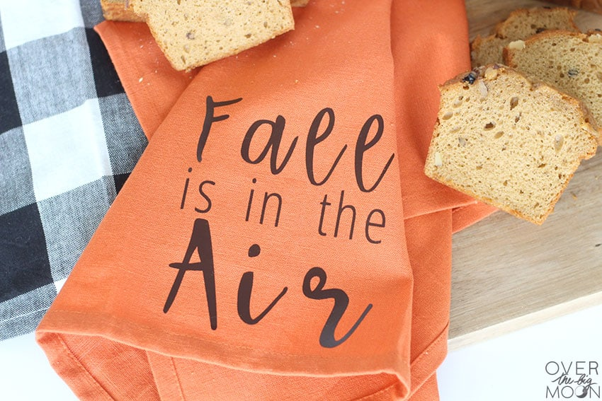 Fall is in the Air Tea Towel- perfect to serve with the fresh bread this Fall! From overthebigmoon.com!
