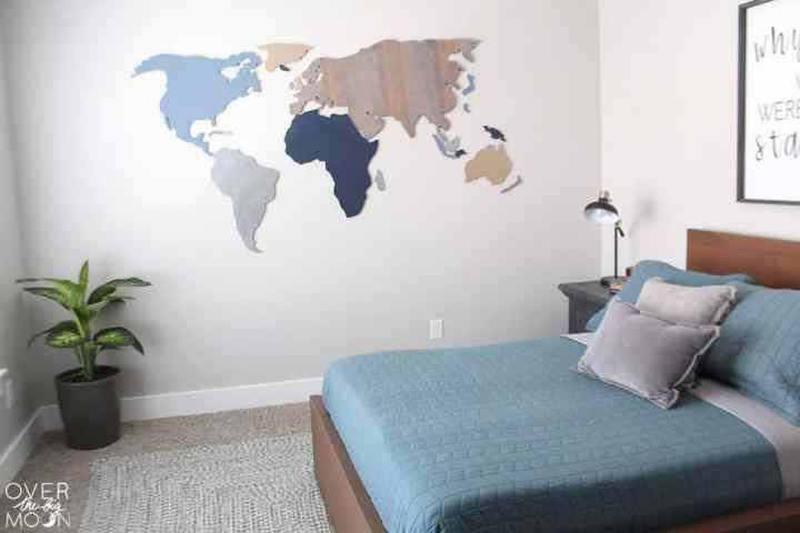 World Map Wood Cutouts - wall decor! This is the perfect solution for an oversized wall! From overthebigmoon.com!