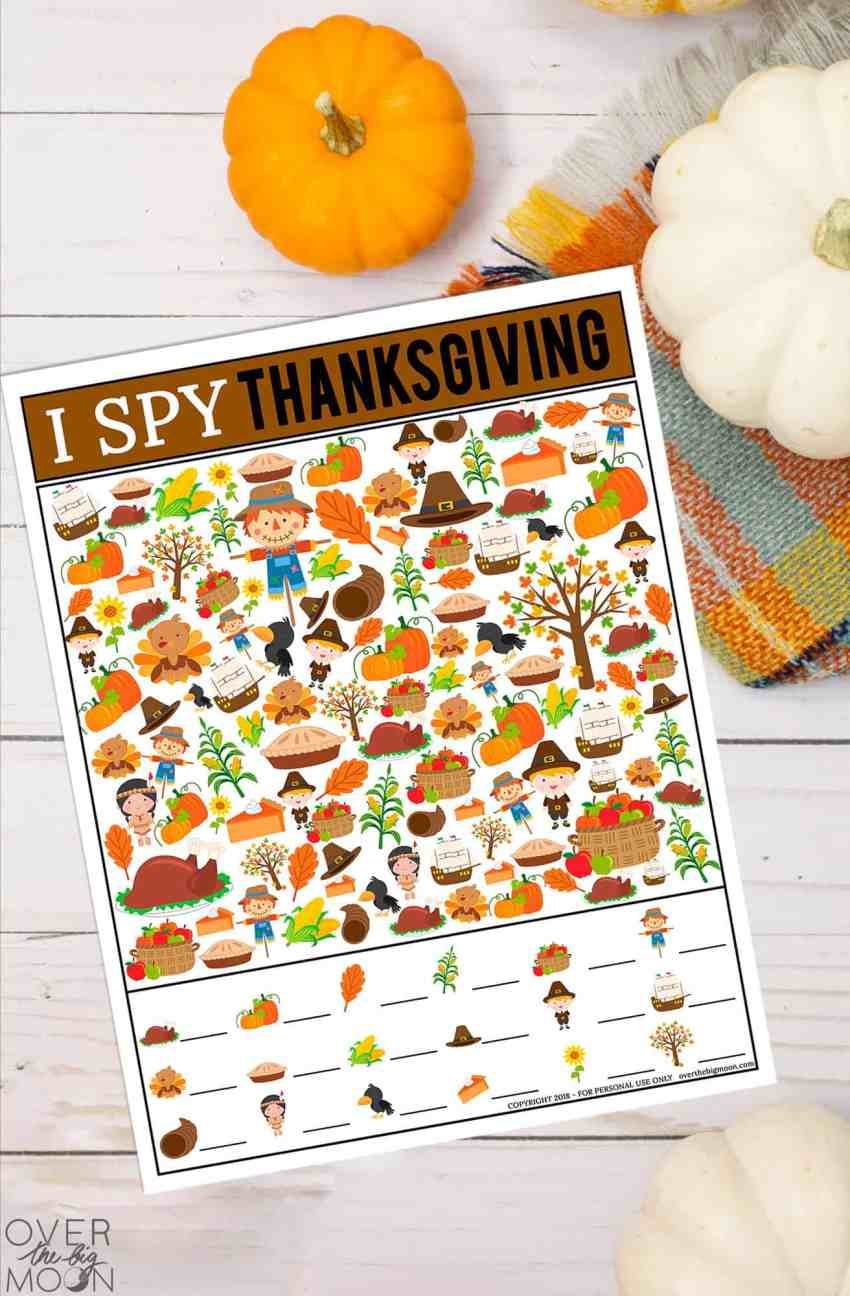Free I Spy Thanksgiving Game for kids! From overthebigmoon.com!