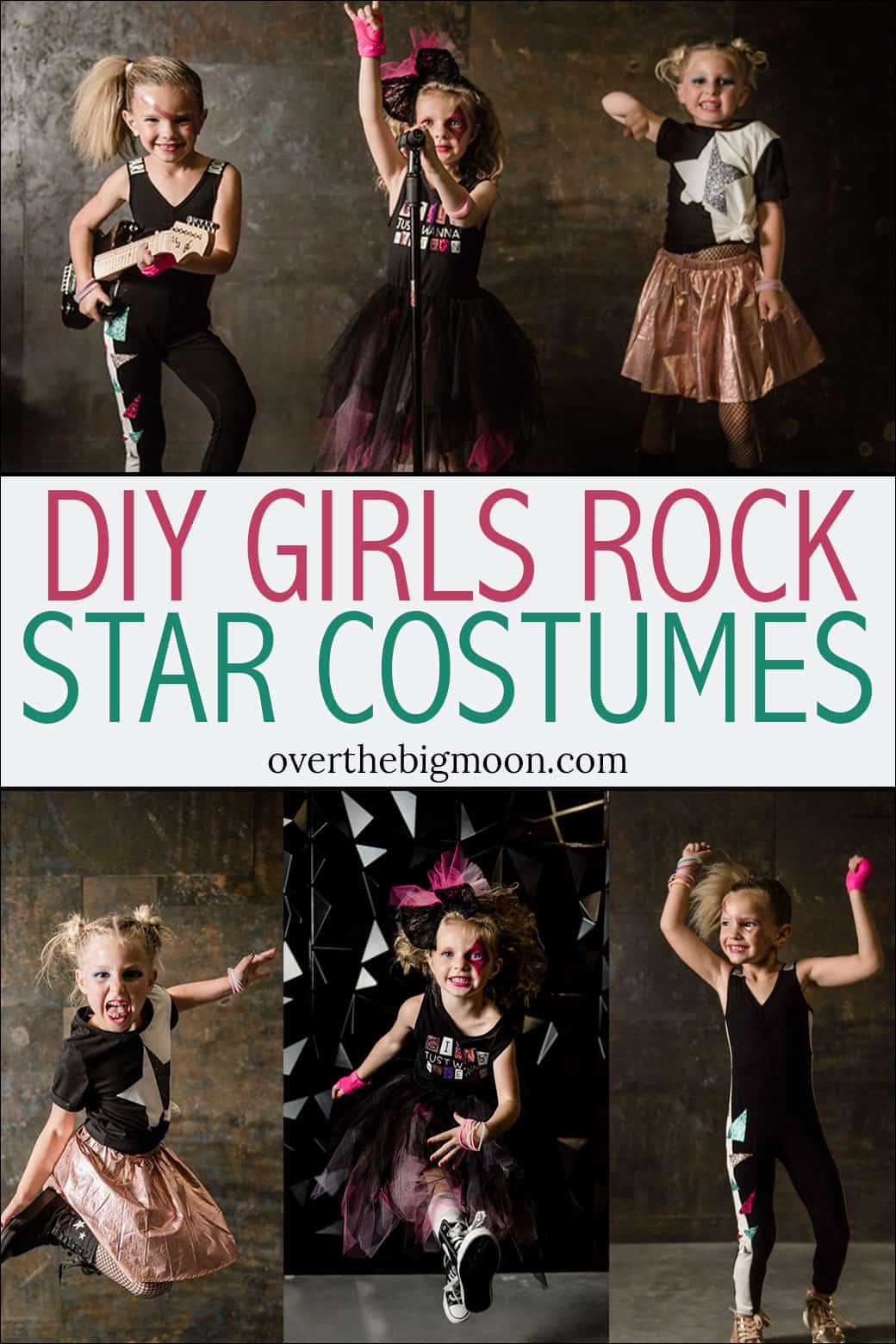 DIY Girls Rock Star Costumes tutorials! THREE looks that are perfect for Halloween costumes or for dress up! From overthebigmoon.com!