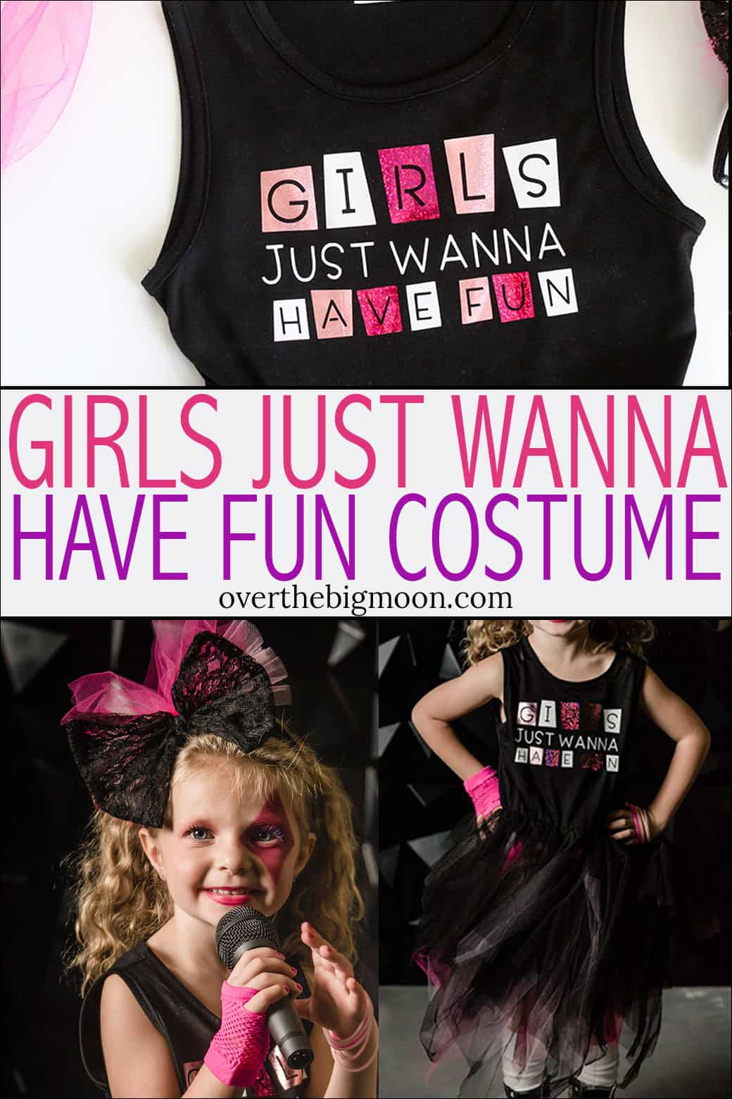DIY Girls Just Wanna Have Fun Costume tutorial! This is such a cute Halloween costume! From overthebigmoon.com!