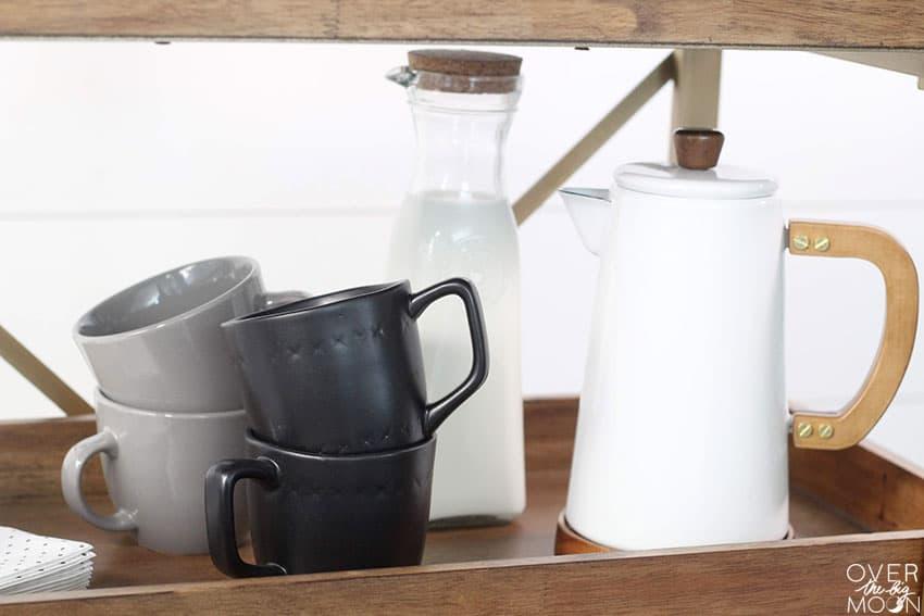 Milk and Coffee Cart setup! From overthebigmoon.com!