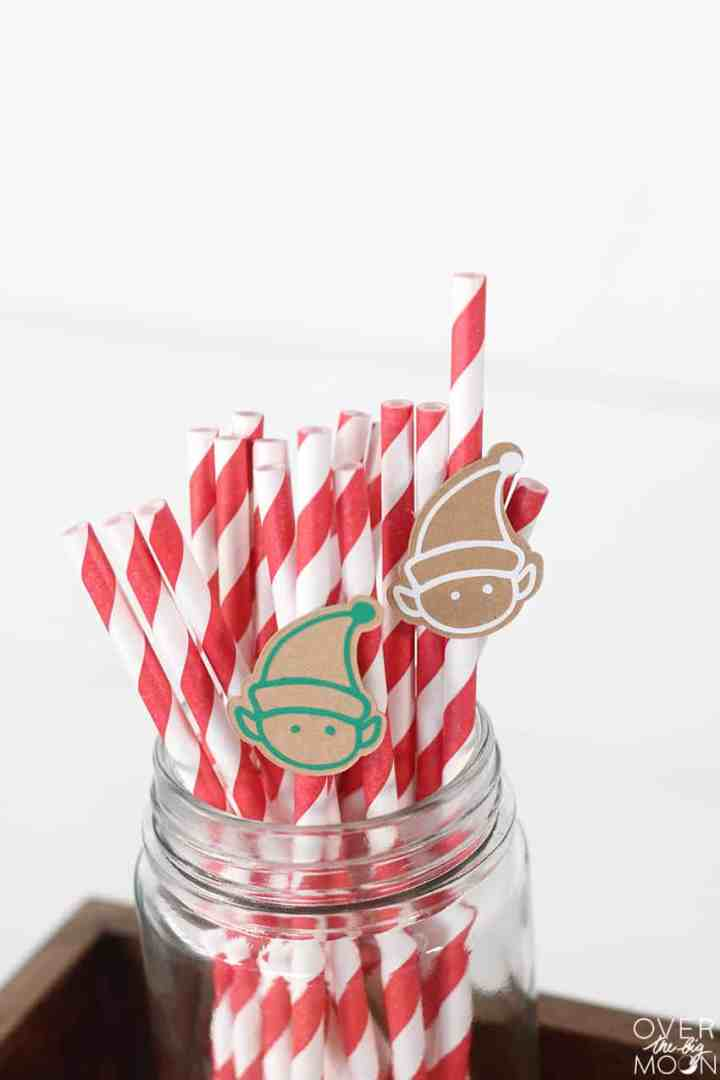 Elf Straw Toppers - perfect for Elf Milk and Cookies setup! From overthebigmoon.com!
