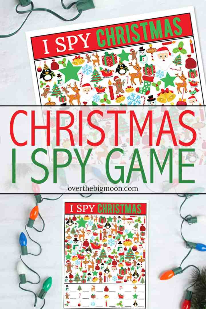 Kids Printable Christmas I Spy Game - a fun activity for your kiddos this Christmas! Just print and play! From overthebigmoon.com!