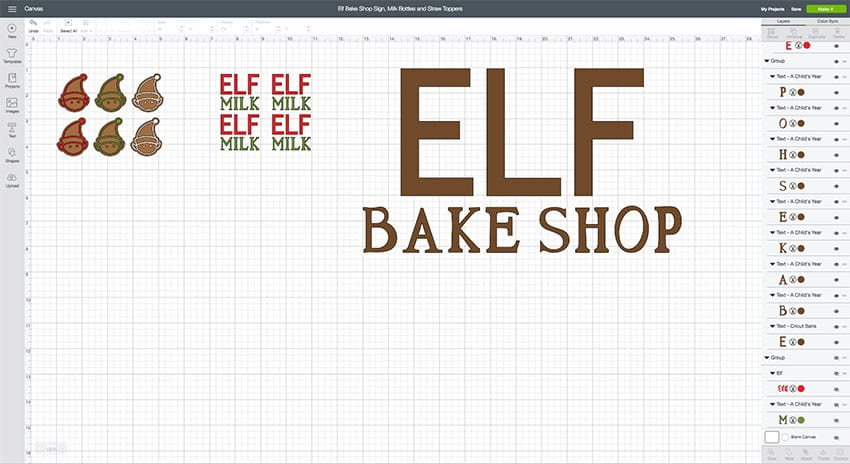 Elf Straw Toppers & Milk Bottles Design Space File from overthebigmoon.com!