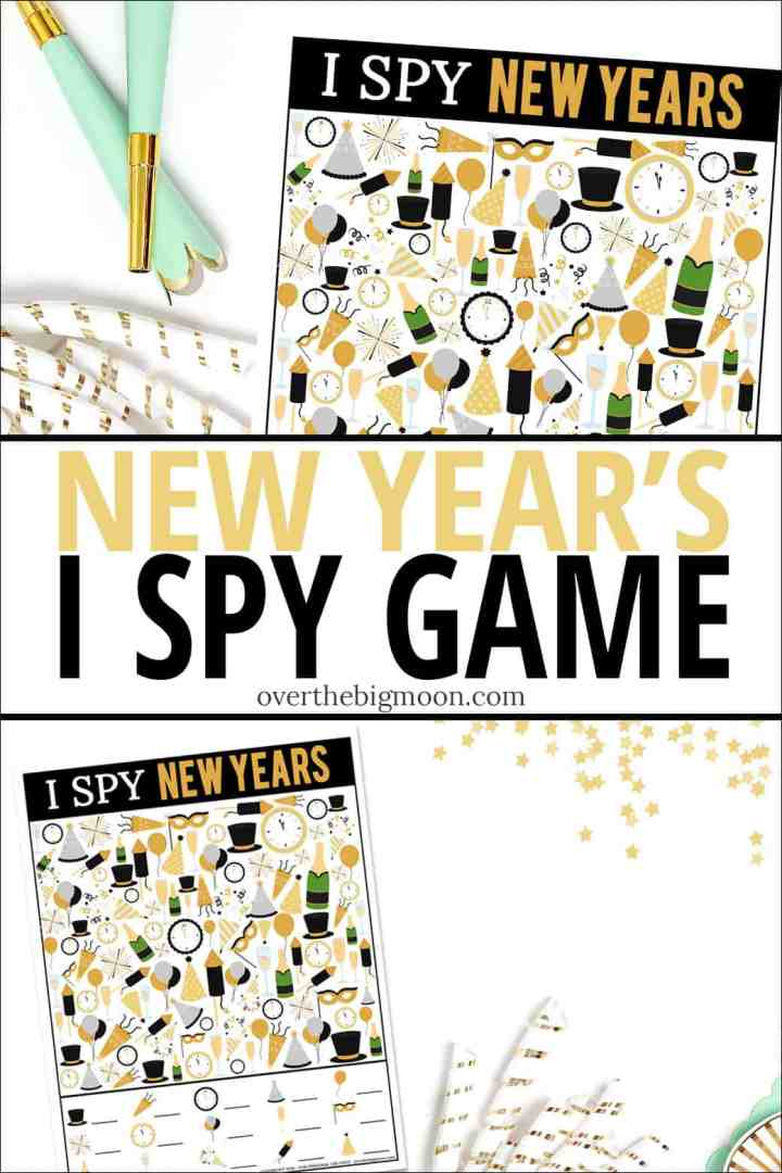 Printable I Spy New Year's Eve Game - the perfect activity to help celebrate the New Year! From overthebigmoon.com!