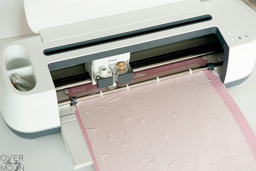 Loading the fabric mat into the Cricut Maer! From overthebigmoon.com!