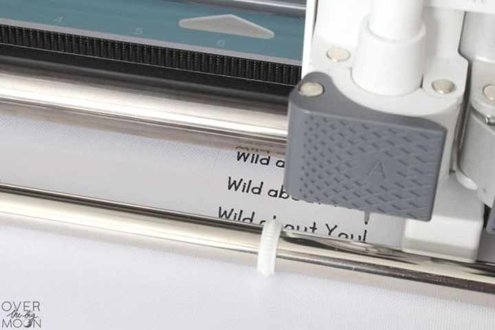 Writing feature in the Cricut Maker making Valentine's! From overthebigmoon.com!