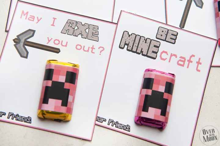 Cute Pink Minecraft Valentine's - Free Printables! From overthebigmoon.com!