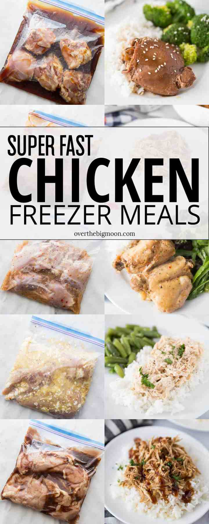 Super Fast Chicken Freezer Meals -- 7 recipes, makes 14 freezer meals in just 90 minutes! All our family friendly and super delicious! From overthebigmoon.com!