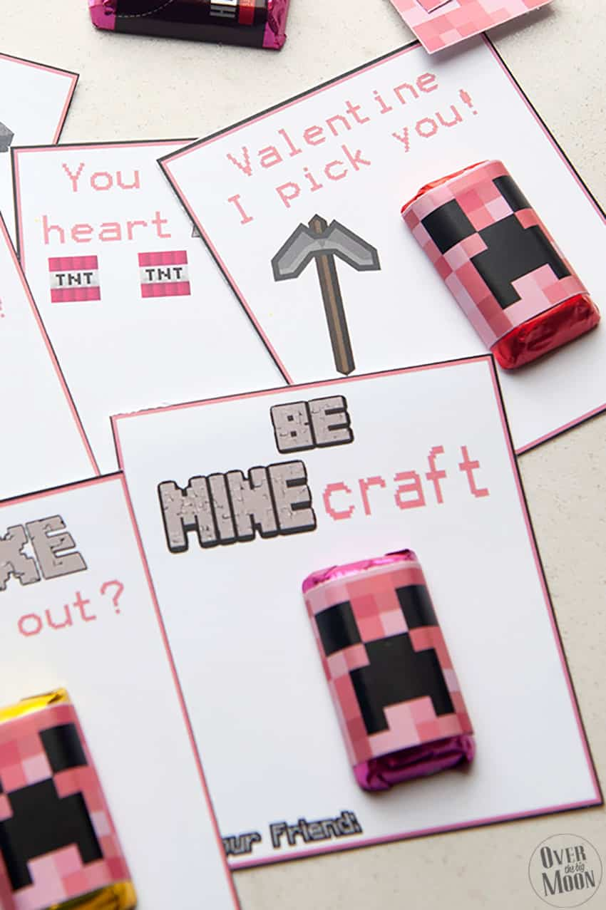 Printable Minecraft Printables that are PINK! They pair perfect with our Green Printable Minecraft Valentine's! From overthebigmoon.com!