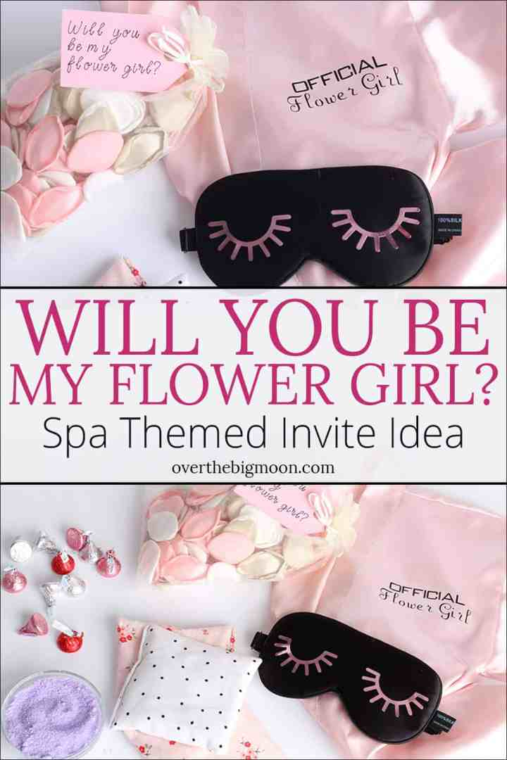 A fun and cute themed way to ask, Will You Be My Flower Girl? This cute spa themed invitation will make your little flower girl feel so special! From overthebigmoon.com!
