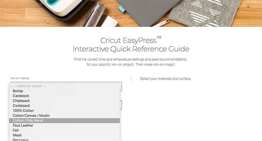 EasyPress Temperature Guide - choose material type.