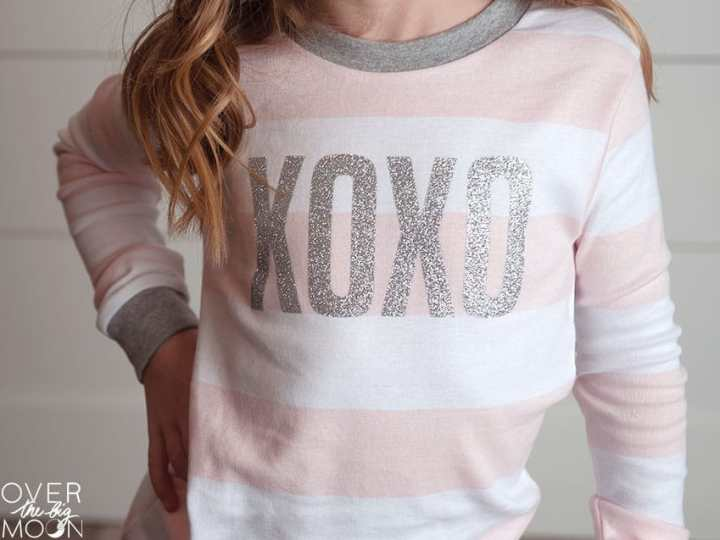 Super cute XOXO Valentine's Day pajamas made from Iron On and my Cricut Maker!