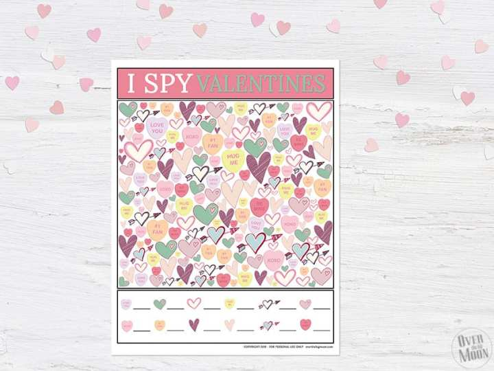 Valentine's Day I I Spy Printable Game from overthebigmoon.com!