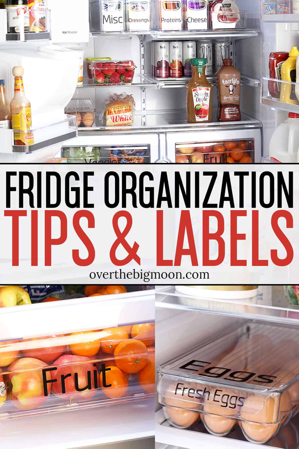 These Refrigerator Organization Tips and Labels will help you not waste food, as well as make prep easier and faster! Add these simple vinyl labels to some organizing bins and use these tips to get started! From overthebigmoon.com!