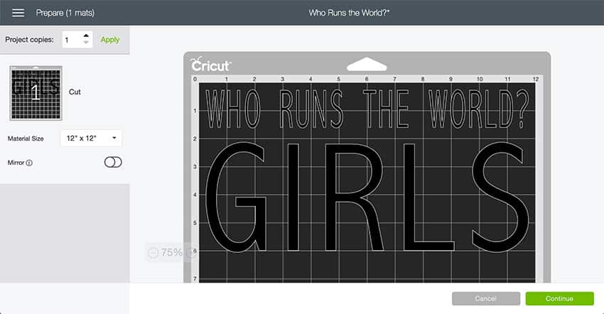 Who Runs the World Design Space File - Mat Preview Screen