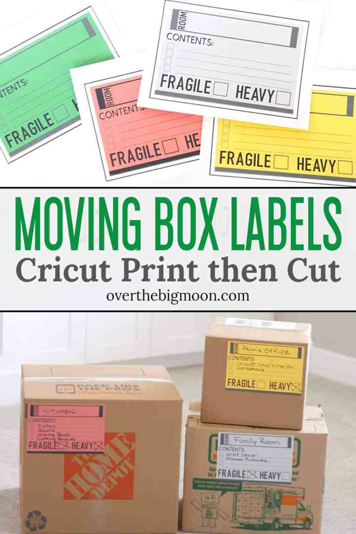 These Cricut Print then Cut Moving Box Labels will help you stay organized during the moving process! You can make them any size you want and color code each room!  From overthebigmoon.com
