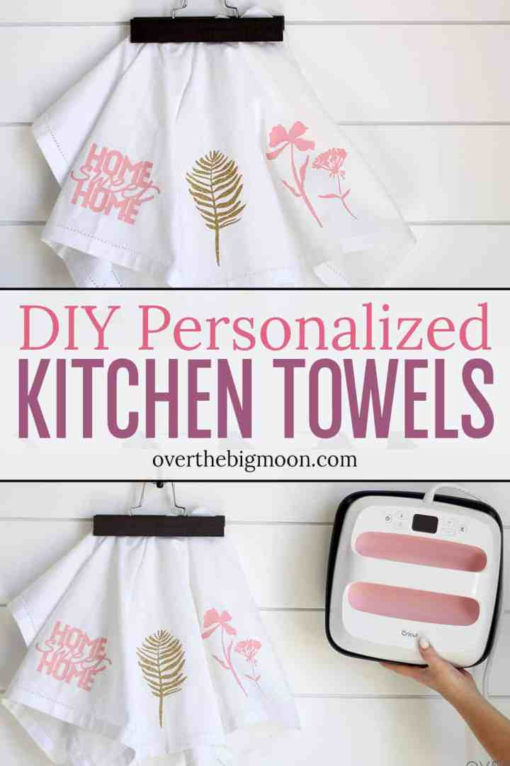 DIY Personalized Kitchen Towels -- perfect for a gift or a way to decorate your kitchen for a season or holiday! From overthebigmoon.com!