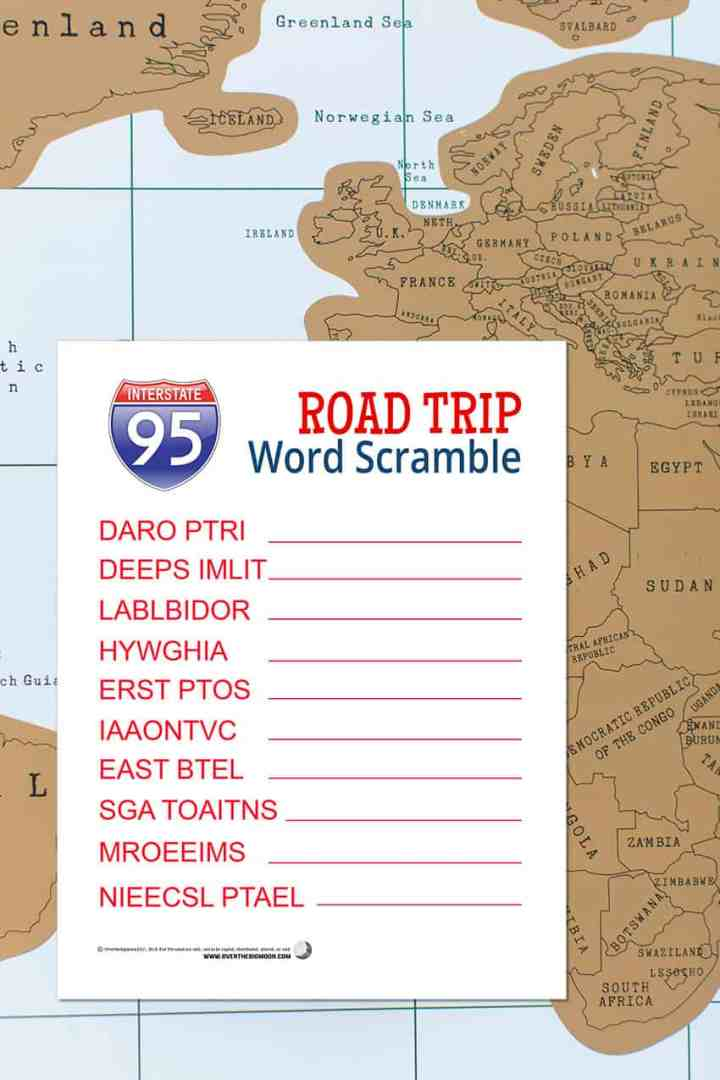 Printable Road Trip Word Scramble