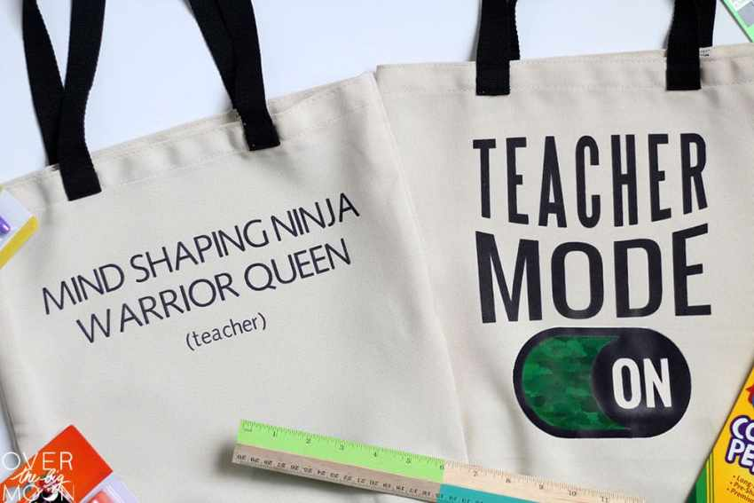 Two teacher tote bags designed with the Cricut Infusible Ink Transfer Sheets.