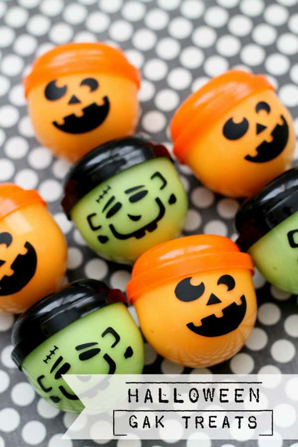 Little plastic containers will pumpkin and Frankenstein faces on them, filled with Gak!