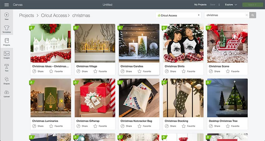 Screenshot from Cricut Design Space of Christmas projects offered through Cricut Access!