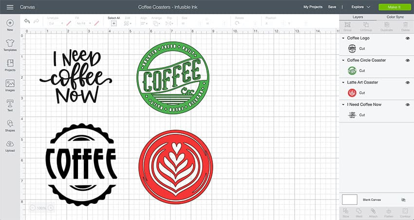 Coffee Coasters Cricut Design Space File