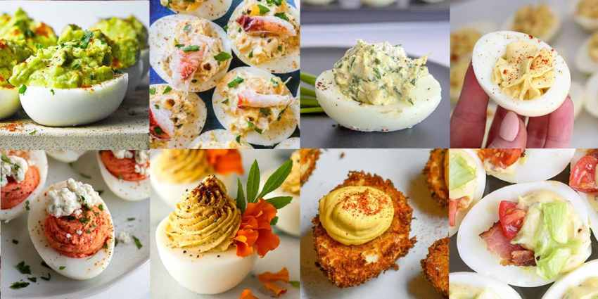 A collage of 8 variations of Deviled Eggs!