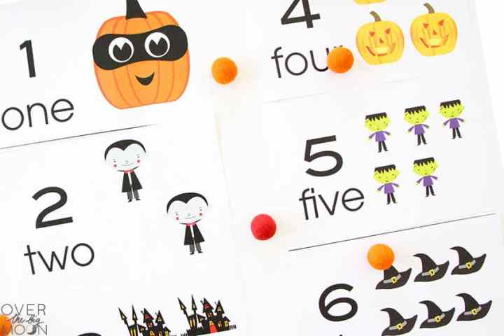 Printable Counting Cards that are Halloween themed -- pumpkins, vampires, frankenstein and witch hats.