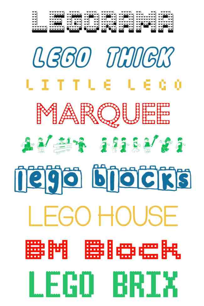 Free Lego Fonts For Designing Over The Big Moon