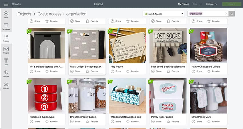 Screenshot from Cricut Design Space of organization projects offered through Cricut Access!