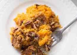A plate full of Sweet Potato Crunch.