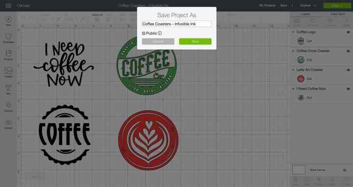 Screenshot saving a design in Cricut Design Space and marking it private.