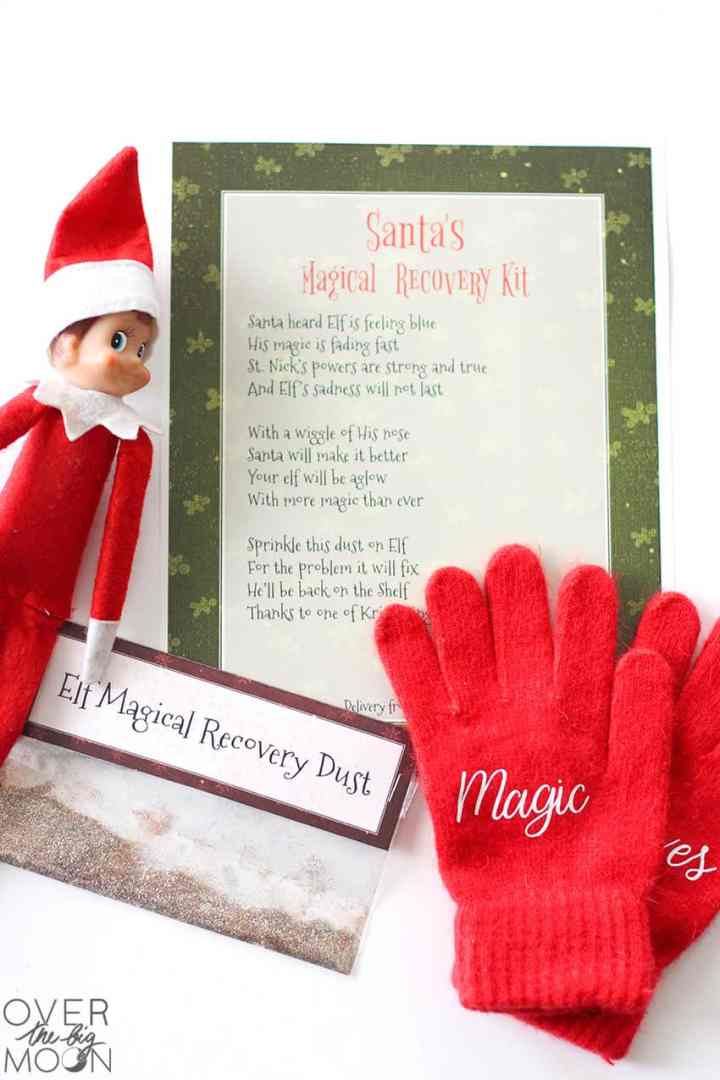 Elf on the Shelf Magical Recovery Kit with poem, magic dust, certificate and magic gloves. Also the Elf on the Shelf is off to the left!