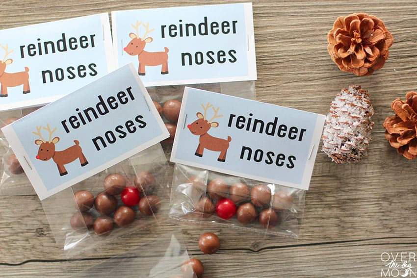Reindeer Noses treat - whoppers and sour cherries in a bag, with a bag topper that says Reindeer Noses on it.
